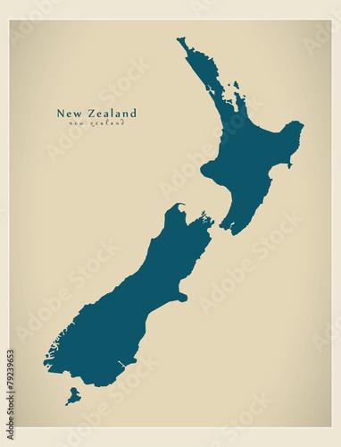 Modern Map - New Zealand NZ Canvas Print