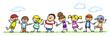 Kinder halten Hände auf einer Wiese