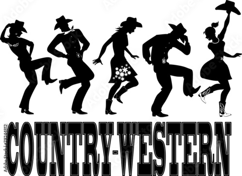 Fotografía  Country-western dance and music silhouette banner
