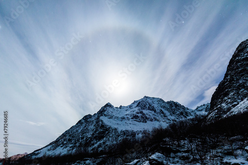 Full moon with halo over mountains