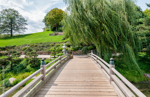 Chicago Botanic Garden, bridge to Japanese Garden area - 79253411