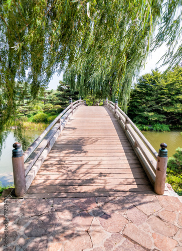 Chicago Botanic Garden, bridge to Japanese Garden area - 79253470