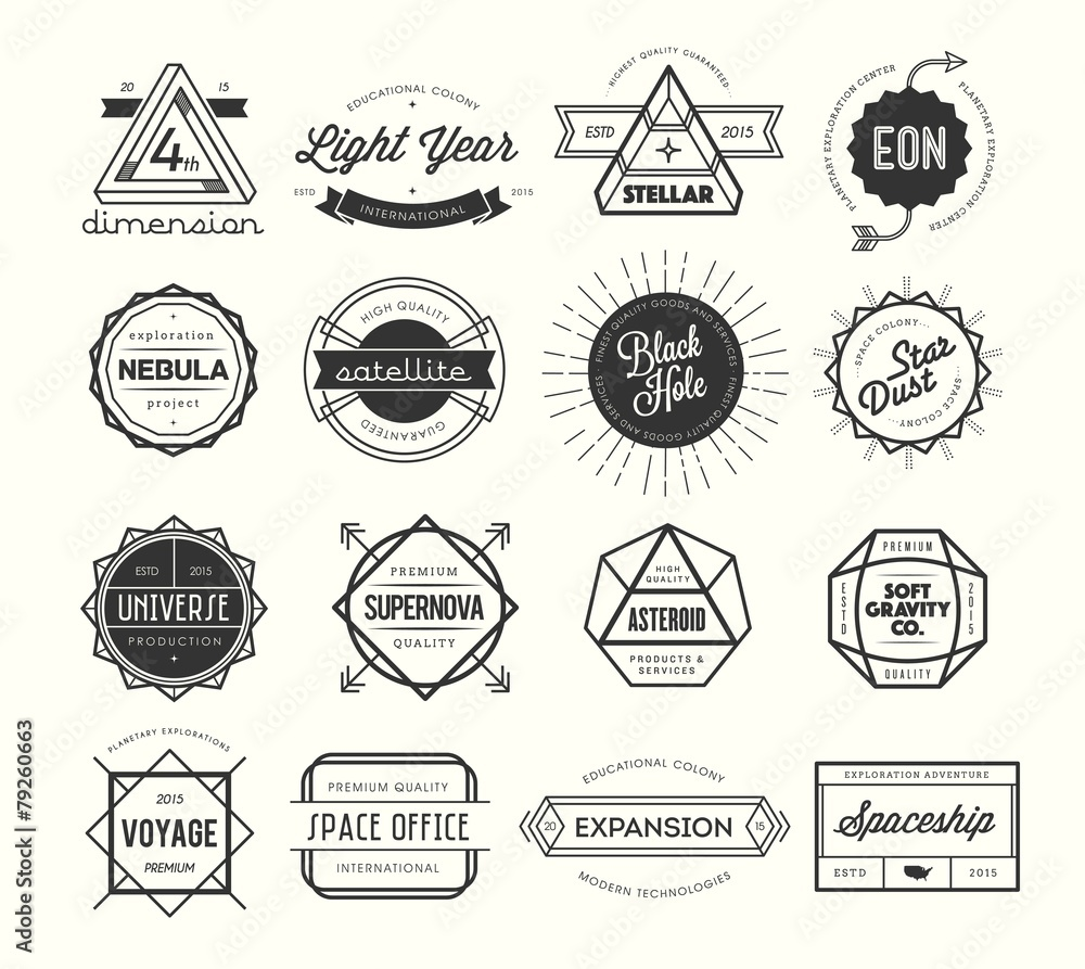 Fototapeta set of vintage badges and labels, inspired by space themes