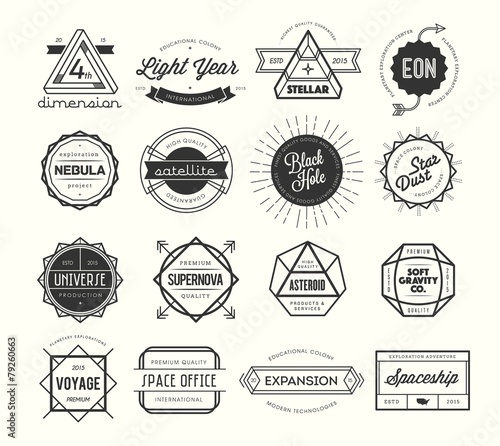 Fotografia  set of vintage badges and labels, inspired by space themes