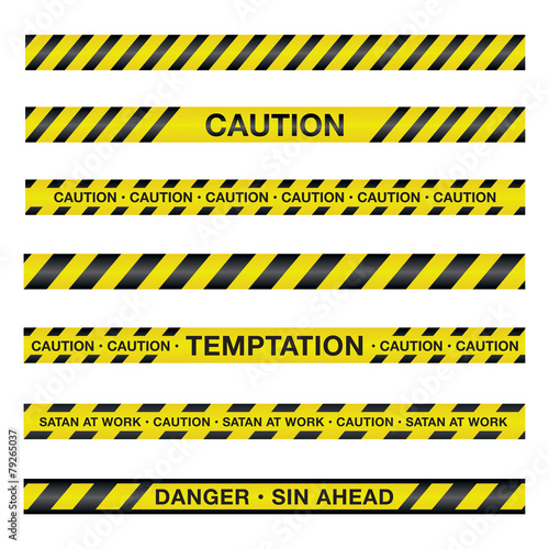 Fotografie, Obraz Spiritual Caution Tape Illustration