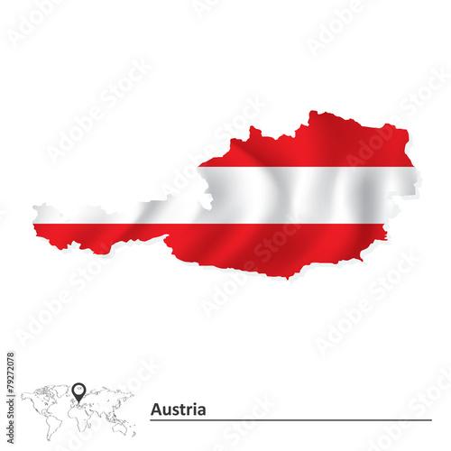 Fotografie, Obraz  Map of Austria with flag