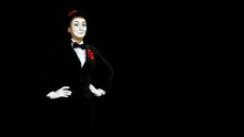 Funny Woman Mime Shows And Speaks About Something, Alpha Channel