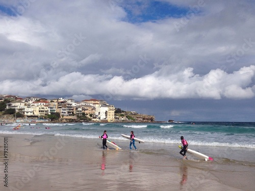 surfers at Bondy Beach Canvas Print
