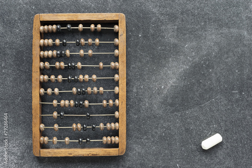 Photo vintage abacus with chalk