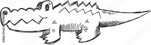 Doodle Sketch Alligator Vector Illustration Art Canvas Print