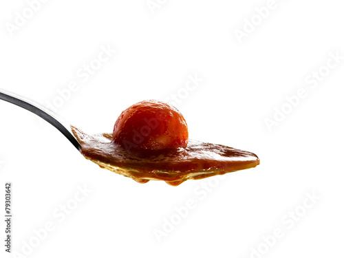 Fotografie, Obraz  salsa di pomodoro su fondo isolato
