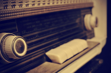 antique radio, in sepia toning