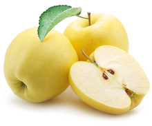 Yellow Apples On A White Backg...