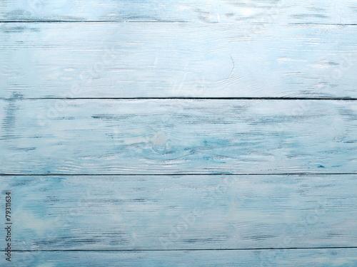 Wallpaper Mural Old blue wooden board. Closeup shot.