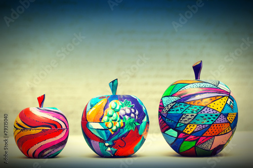 Wooden apples painted by hand. Handmade, contemporary art