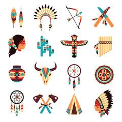 Ethnic american indigenous icons set