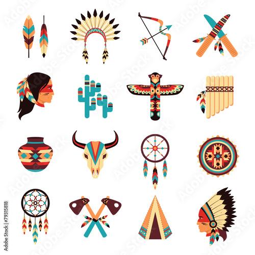 Ethnic american indigenous icons set Canvas Print