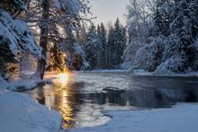 River In Winter At Sunrise