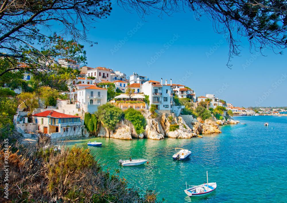 Fototapeta the Old part in town of island Skiathos in Greece