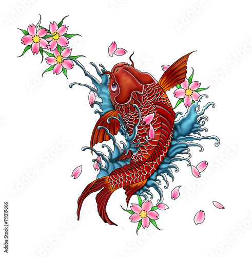 Koi Fish Tattoo Design Japanese Style Stock Illustration Adobe Stock