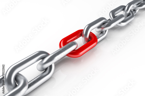 Fotografia  Steel chain with red link