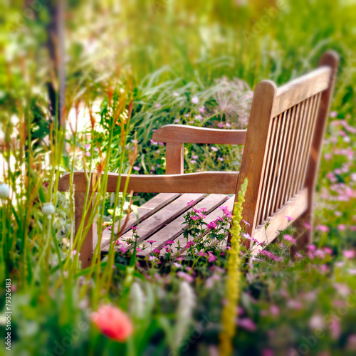 Papiers peints Azalea Wooden Bench in a wildflower garden. Square composition