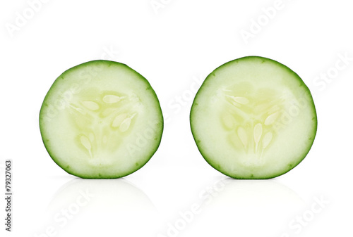 Fresh slice cucumber isolated on white background Canvas Print