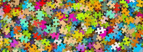 Valokuva  Puzzle, Puzzleteile, Panorama, durcheinander, Jigsaw, bunt, 3D