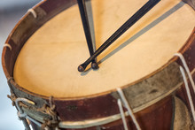 Old Military Drum With Black Sticks
