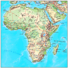 Africa Physical Continent Map