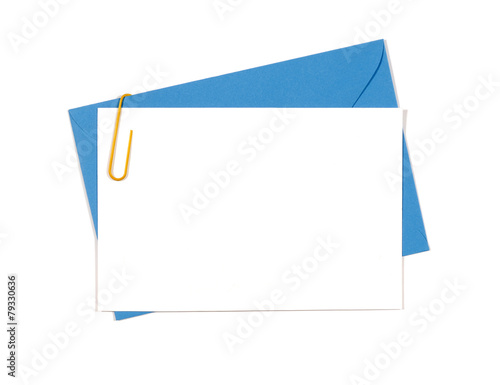 Fotografía  Blank message or invitation card with blue envelope