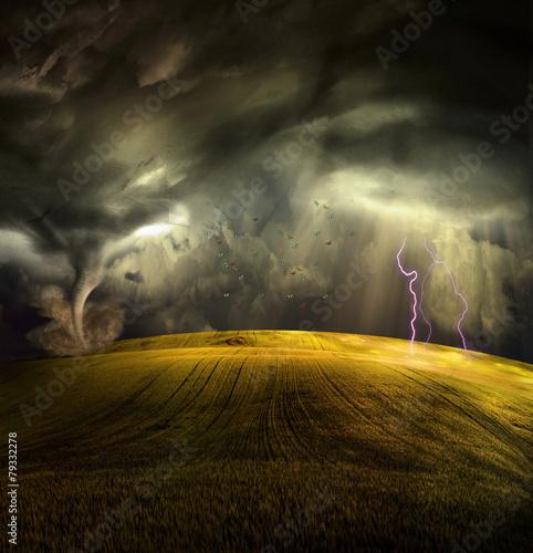 Fotografía Tornado in stormy landscape