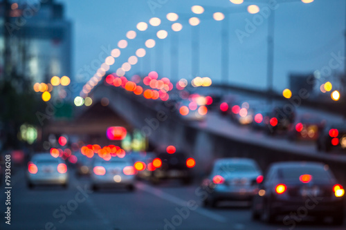 Poster Autoroute nuit City traffic night blurred
