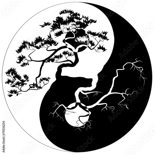 Fotografiet  Black and white Bonsai tree on the Yin Yang symbol