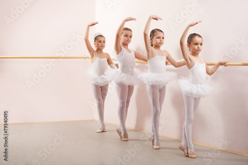 Fotografie, Obraz  Group of four little ballerinas practicing