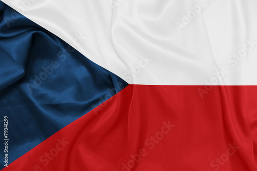 Czech Republic - Waving national flag on silk texture Canvas Print