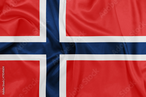 Norway - Waving national flag on silk texture Canvas Print