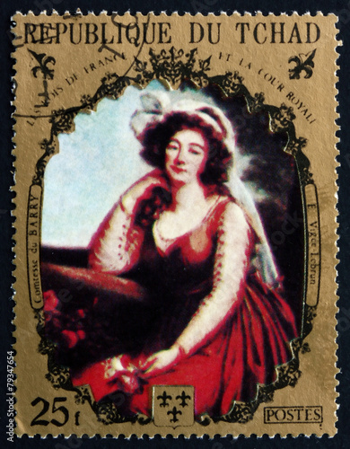 Papel de parede  Postage stamp Chad 1971 Comtesse du Barry, by Vigee-Lebrun