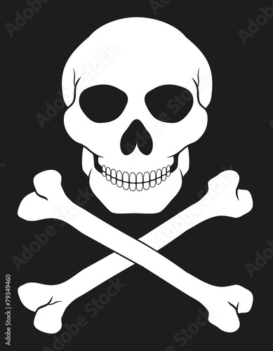 Photo  pirate skull and crossbones vector illustration