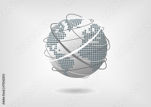 Vector illustration of globe with dotted world map