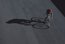 Cyclist Is Crossing The Road A...