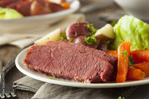 Homemade Corned Beef and Cabbage Fototapeta