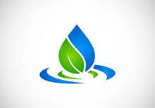 Eco Leaf Water Drop Vector Logo