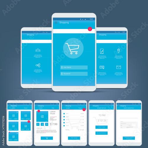 Fotografía  Flat design user interface for smart phone or mobile e-shop apps