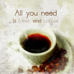 Fototapeta Kawa Inspirational coffee quote
