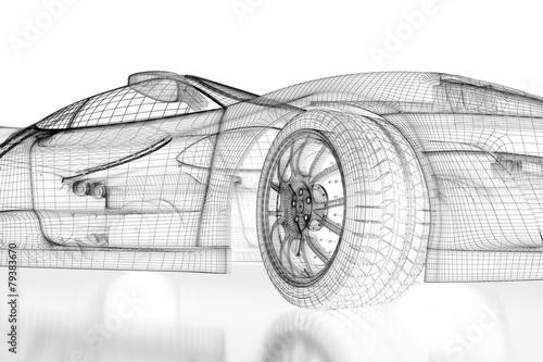 obraz dibond 3D samochód