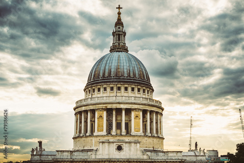Famous St. Paul's Cathedral church, London, United Kingdom. Canvas Print