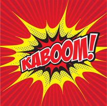 KABOOM! Wording In Comic Speech Bubble In Pop Art Style
