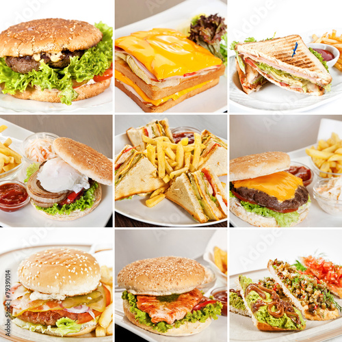 Foto op Canvas Snack Burgers and sandwiches collage