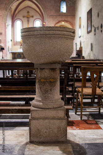 Tablou Canvas baptismal font  in the church of Santa Cristina in monselice
